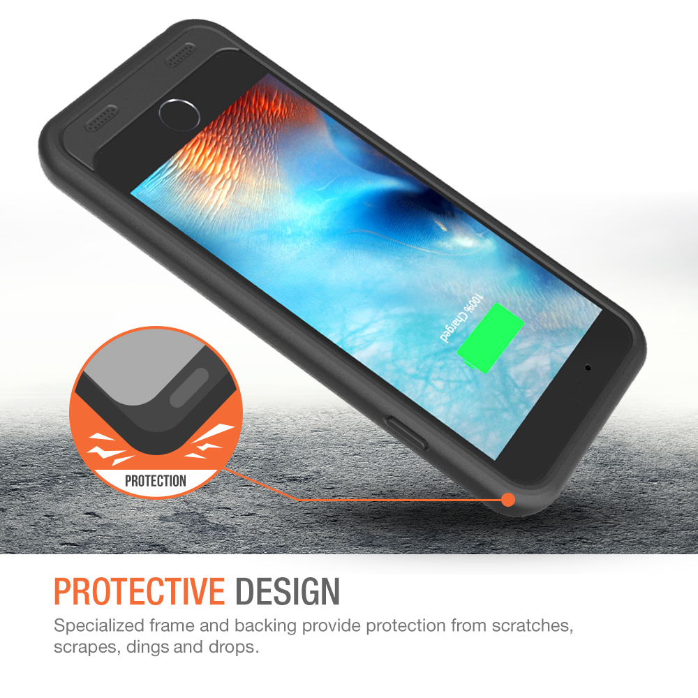 55a26714f25 Atomic S Battery Case for iPhone 6 6S 4.7″ Inche – [ Black / Black]