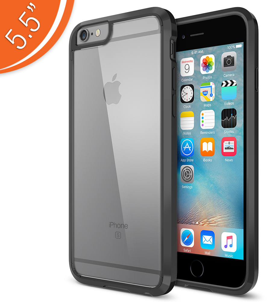 Trianium [Clear Cushion] for iPhone 6S Plus & iPhone 6 Plus (5.5 inches) – Jet Black