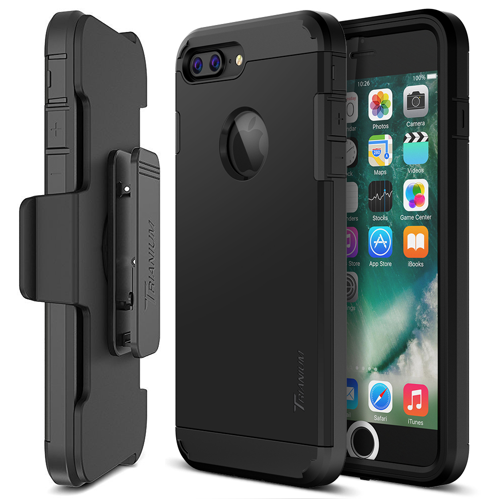 cheap for discount 6c2a7 5111d Trianium [Duranium Series] for iPhone 7 Plus w/ Holster- Black