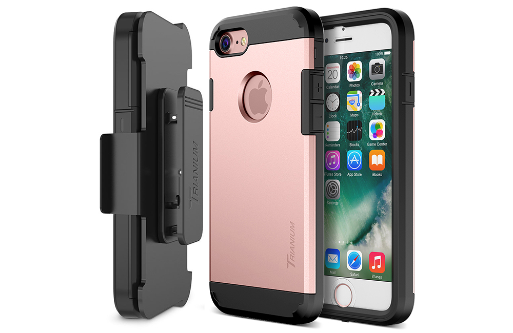 online store 653fd 51775 Trianium [Duranium Series] for iPhone 8 w/ Holster- Rose Gold