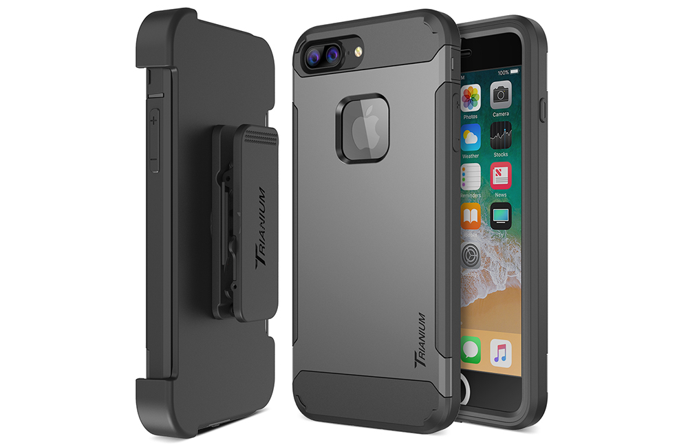 best authentic 6fbca 1f535 Trianium [Duranium Series] for iPhone 8 Plus w/ Holster- Gunmetal