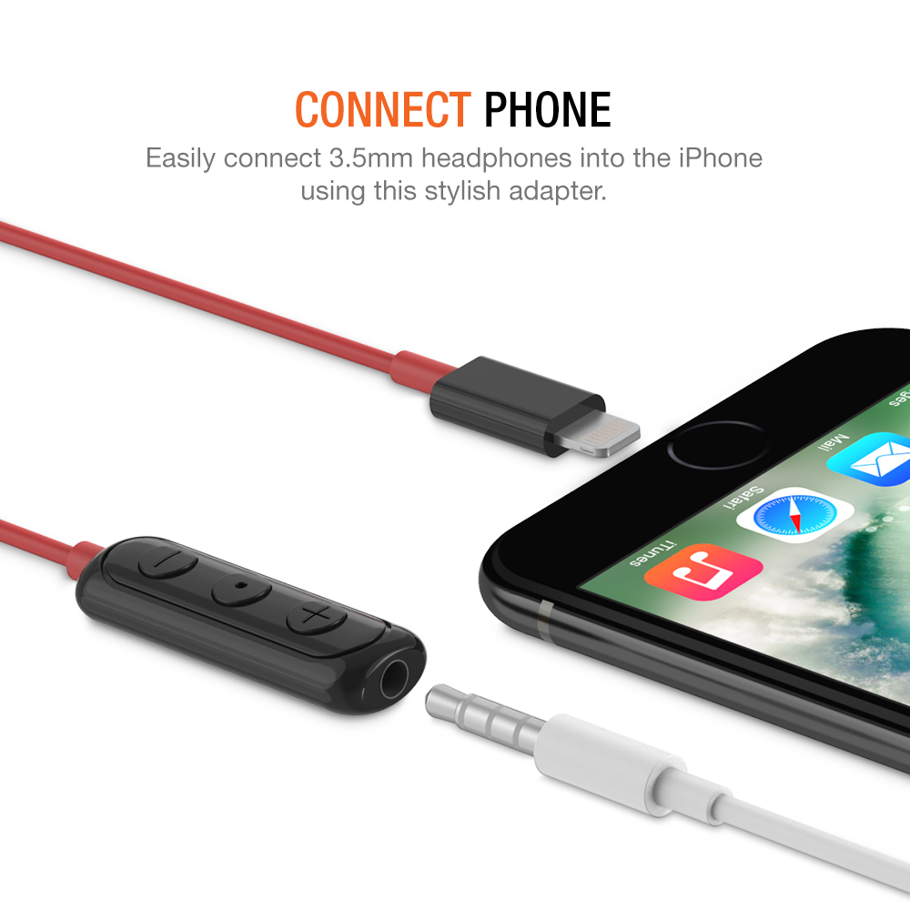 iPhone Lightning to 3.5mm Headphone Jack HIFI Adapter – Red