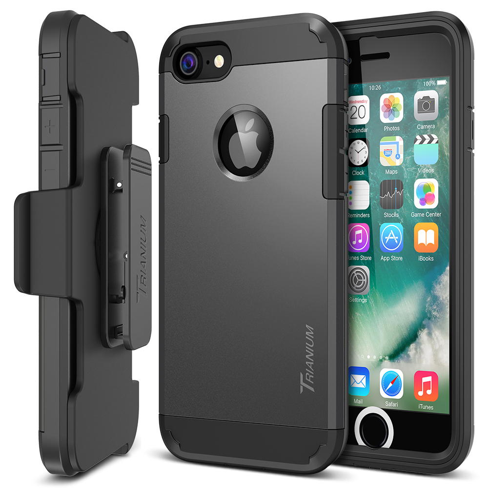 Trianium Duranium Series For Iphone 7 W Holster Gunmetal Case 5 5s 5se Kickstand Blackblack